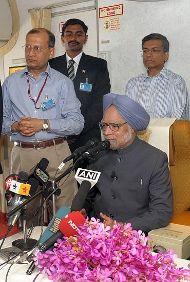 Manmohan Singh addressing media persons