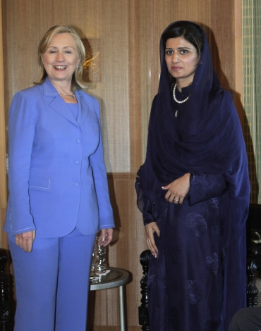 A file photo of US Secretary of State Hillary Clinton with Pakistan's Foreign Minister Hina Rabbani Khar