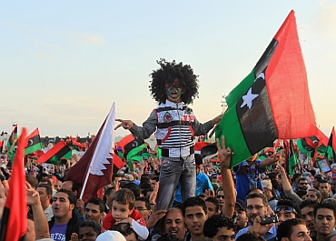 Libyans celebrate the liberation of their country, in Quiche, Benghazi