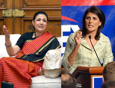 Nikki Haley and former ambassador to US Meera Shankar