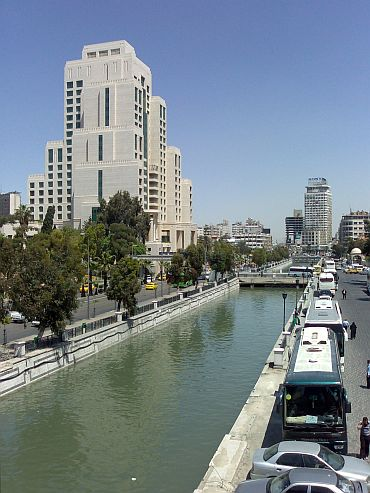 A view of the Barada river in Damascus
