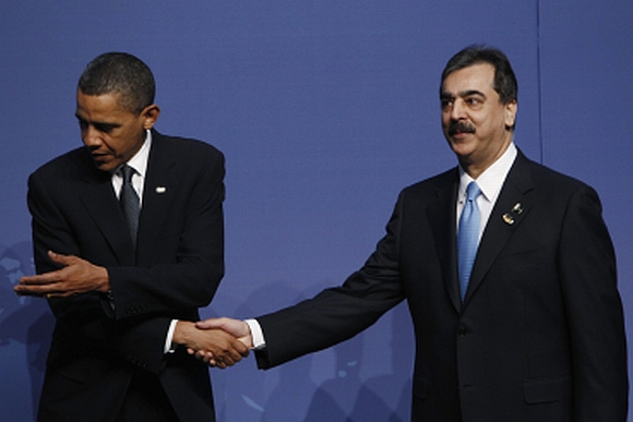 US President Barack Obama with Pakistan PM Yousuf Gilani