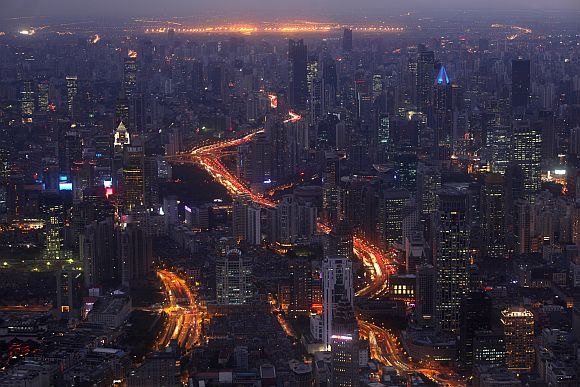 A view of the city skyline from the Shanghai Financial Centre building