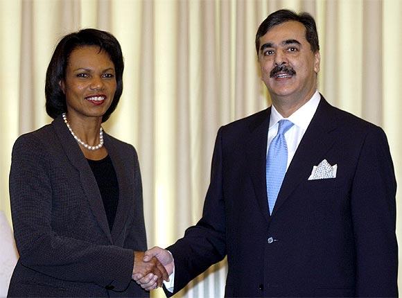 Condoleezza Rice with Pakistan Prime Minister Yusuf Raza Gilani