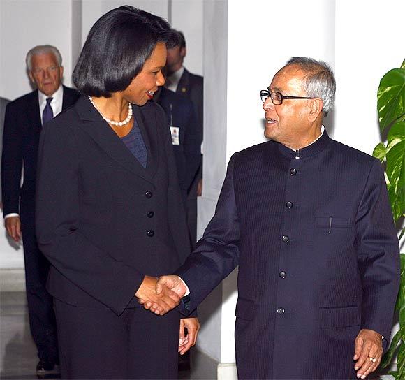 Condoleezza Rice with Pranab Mukherjee