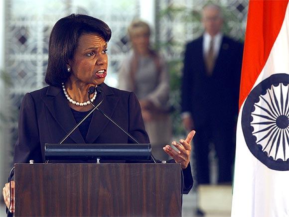 George W Bush with Condoleezza Rice