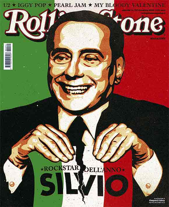 Italian Prime Minister Silvio Berlusconi is represented on the cover of Rolling Stone Magazine