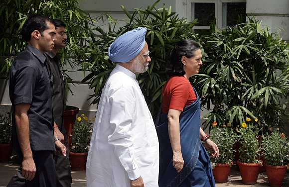 Congress President Sonia Gandhi with PM Singh