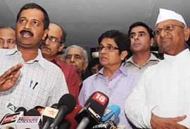Arvind Kejriwal, Prashant Bhushan, Kiran Bedi and Anna Hazare