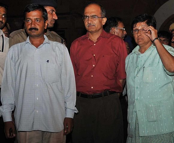 Arvind Kejriwal, Prashant Bhushan and Kiran Bedi