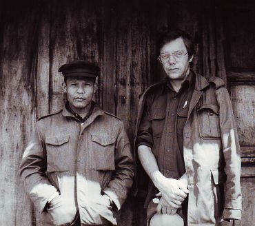 Bertil Lintner with the Manipur's People Liberation Army (PLA) leader Temba Singh in Myanmar