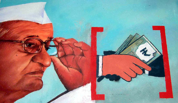 A rangoli depicting activist Anna Hazare and his movement against corruption