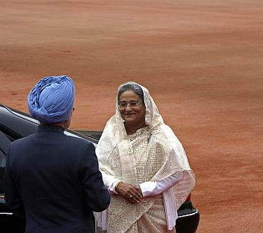 File photo of Dr Manmohan Singh with his Bangladeshi counterpart Sheikh Hasina in New Delhi