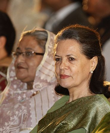 Congress president Sonia Gandhi with Sheikh Hasina in Dhaka during the former's recent visit there