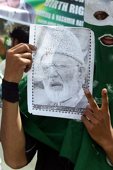 A supporter of Syed Ali Shah Geelani