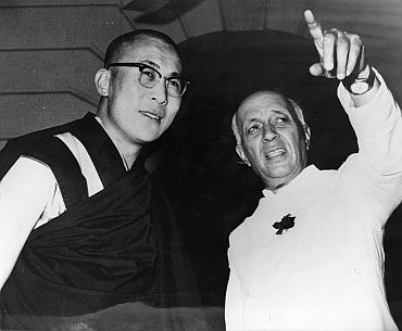 Tibetan spiritual leader the Dalai Lama with then Prime Minister Jawaharlal Nehru in New Delhi in this April, 1961 photograph