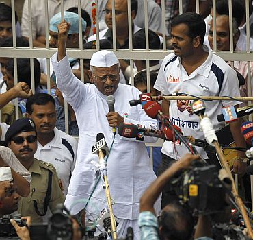 Anna Hazare outside Tihar Jail
