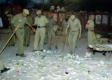 Policemen at the Sadar Bazar blast site