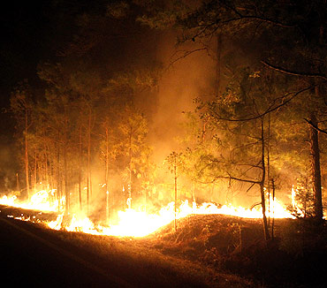 A wildfire is seen near Bastrop, Texas