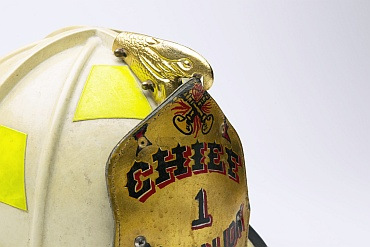 A fire helmet belonging to Fire Chief Joseph Pfeifer is seen in this photograph before becoming a part of memorial. Pfeifer, along with the rest of Ladder 1, survived that day. His brother did not.