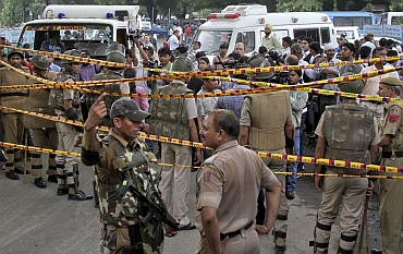 Scene at the Delhi high court after the blast on Wednesday