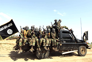 Members of al Shabaab, a militant group linked to Al Qaeda, outside Somalia's capital Mogadishu