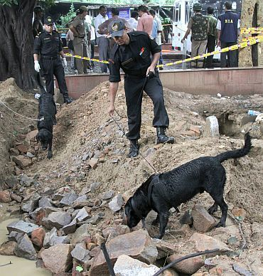 Commandos use sniffer dogs to search for evidence near the site of a bomb blast outside the high court in New Delhi