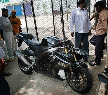 Ayazuddin and Ajmal's bike that met the accident kept in a police station in Hyderabad