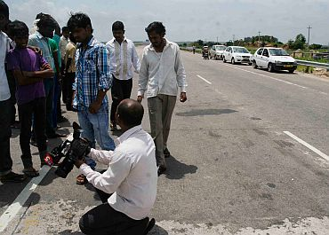 The site of the mishap, at Outer Ring Road in Hyderabad