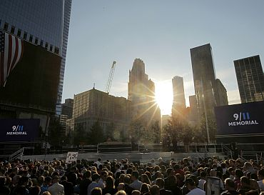 The sun rises during ceremonies marking the 10th anniversary of the 9/11 attacks on the World Trade Center, in New York
