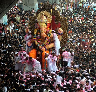 Mumbai's famous Lalbagcha Raja Ganpati's grand immersion procession underway