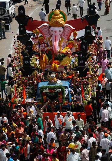 Another grand Ganpati immersion procession in Hyderabad