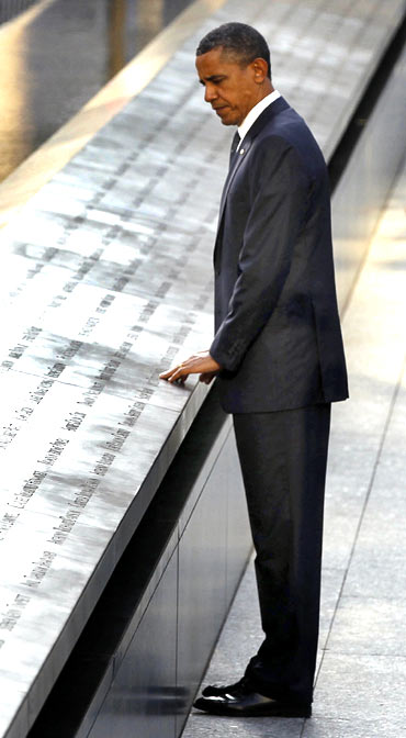 US President Barack Obama at the 9/11 memorial in New York, September 11, 2011