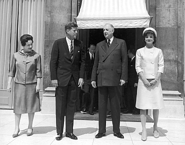 Former French first lady Madame de Gaulle, Former US president John F Kennedy, Former French president Charles de Gaulle with Jacqueline Kennedy outside the Elysee Palace, Paris
