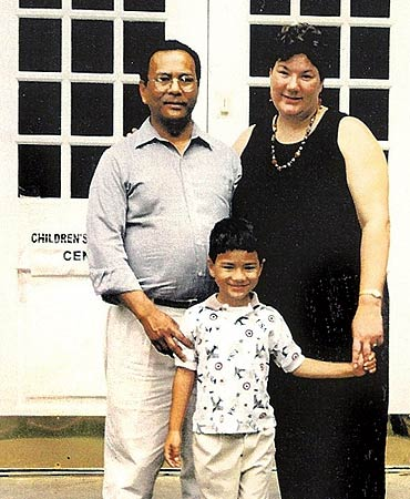 Santi  with his parents