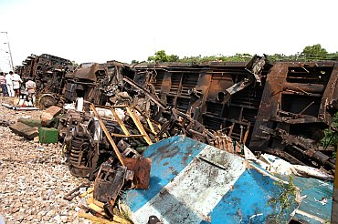 The wreckage at the crash site