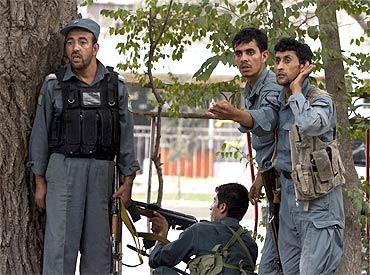 Afghan police during a gun battle after Taliban insurgents near the US embassy in Kabul