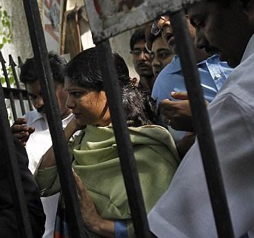 DMK MP Kanimozhi leaves a court in New Delhi