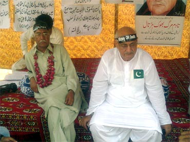 Akhtar with a supporter