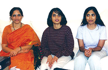 Swarna (centre) with her mother and sister