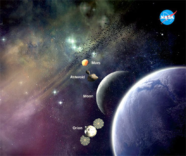 Artist concept of future destinations for the rocket