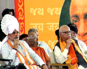 Narendra Modi with senior BJP leader L K Advani