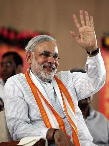 Gujarat CM Narendra Modi at the fast venue