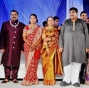 The reception of Gadkari's son Nikhil and Rutuja Patha in Nagpur