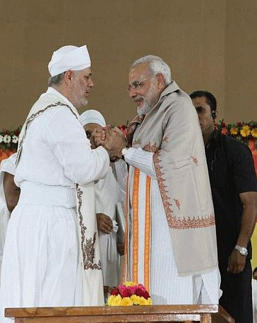 Narendra Modi with a Muslim leader