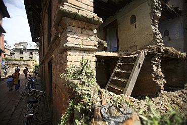 A house that was destroyed by the magnitude 6.8 earthquake that struck Nepal, India and Bangladesh