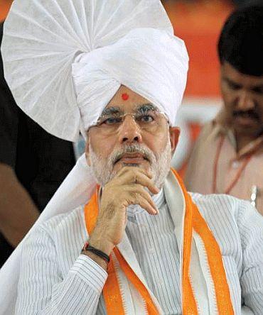 Gujarat Chief Minister Narendra Modi at the venue of his Sadbhavana fast