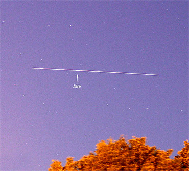 A bright pass of UARS photographed from the Netherlands