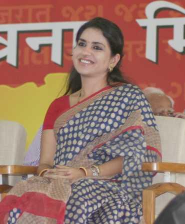 BJP's Shaina N C at Narendra Modi's fast venue