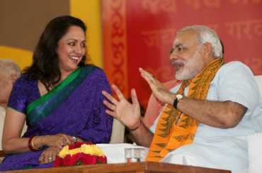 Actress Hema Malini with Narendra Modi